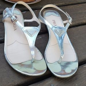 Prada Silver T-Strap Slight Wedge Sandals
